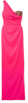 Marchesa One-shoulder Embellished Tulle-trimmed Crepe Gown - Fuchsia
