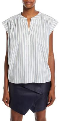 Joie Jacquita Shadow-Stripe Cotton Cap-Sleeve Top