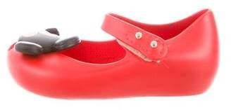 Mini Melissa Girls' Peep-Toe Minnie and Mickey Flats