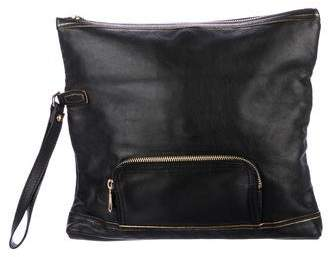 Longchamp Leather Fold-Over Clutch