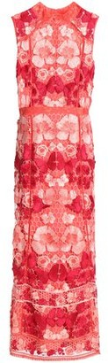 Marchesa Fluted Guipure Lace Midi Dress