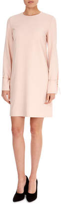 Victoria Beckham Victoria Jewel-Neck Bell-Sleeve Crepe Shift Dress