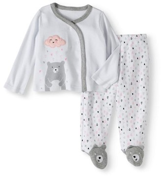 Quiltex Newborn Baby Girl's Bear Kimono and Footed Pants 2-Piece Outfit Set