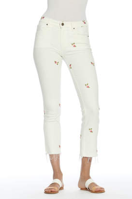 Driftwood Candace Crop White Jeans w Rosebuds