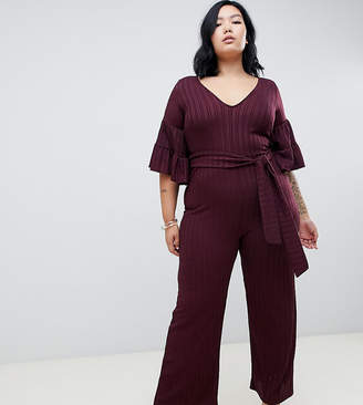 Lost Ink Plus Wide Leg Jumpsuit With Tie Waist