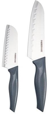Farberware 2 Piece Carbon Fiber Pattern Handle Santoku Knife Set