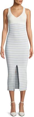 Opening Ceremony V-Neck Striped Rib-Knit Maxi Dress