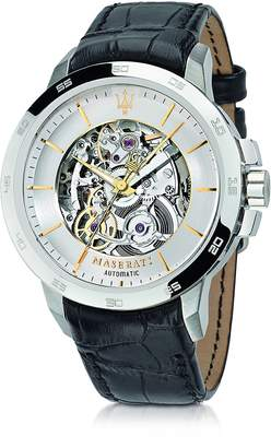 Maserati Ingegno Silver Tone Stainless Steel Case and Black Embossed Leather Strap Men's Watch