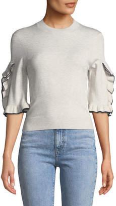 See by Chloe Ruffle-Sleeve Cropped Crewneck Sweater