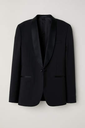 H&M Wool Tuxedo Jacket Skinny fit - Black