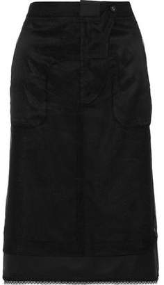 Thom Browne Layered Mesh And Wool-twill Pencil Skirt
