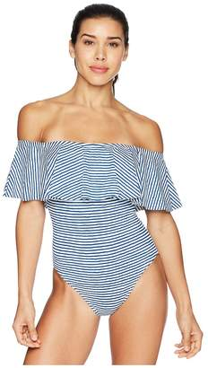 Lauren Ralph Lauren Painterly Stripe Ruffle Off the Shoulder One-Piece Women's Swimsuits One Piece