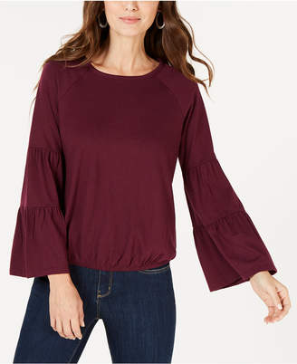 Style&Co. Style & Co Bubble-Hem Bell-Sleeve Top