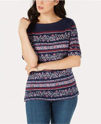 Karen Scott Printed Boat-Neck T-Shirt, Created for Macy's
