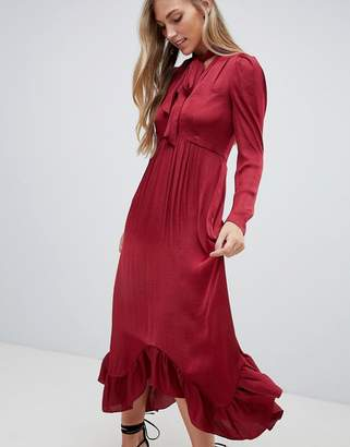 Forever New plunge front midi dress with ruched sleeve and pussybow in burgundy