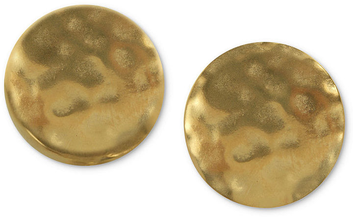 T Tahari Earrings, 14k Gold-Plated Double Hammered Disk Clip-On Earrings