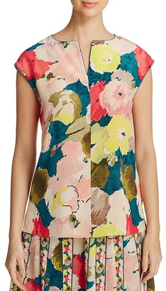 Lafayette 148 New York Joanie Floral Silk Blouse $348 thestylecure.com
