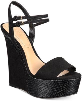 ALDO Women's Aliane Platform Wedge Sandals $100 thestylecure.com