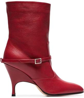 Ballin Alchimia Di red Cuba 95 leather ankle boots