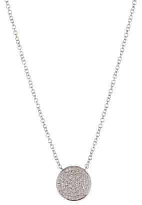 Ron Hami 14K White Gold Pave Diamond Disc Pendant Necklace - 0.15 ctw