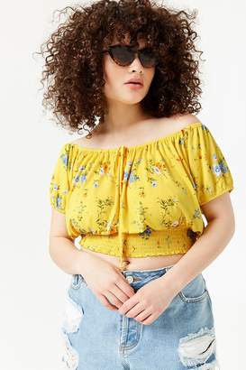 bca7aa9bc0ee9 Forever 21 Plus Size Floral Off-the-Shoulder Crop Top