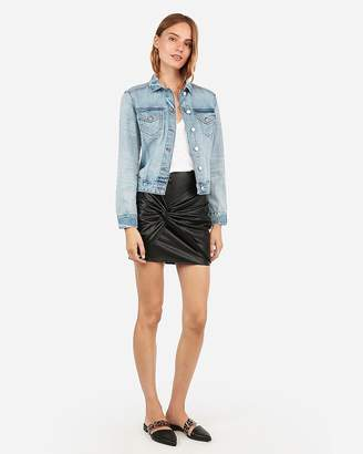 Express Slim Light Wash Denim Trucker Jacket