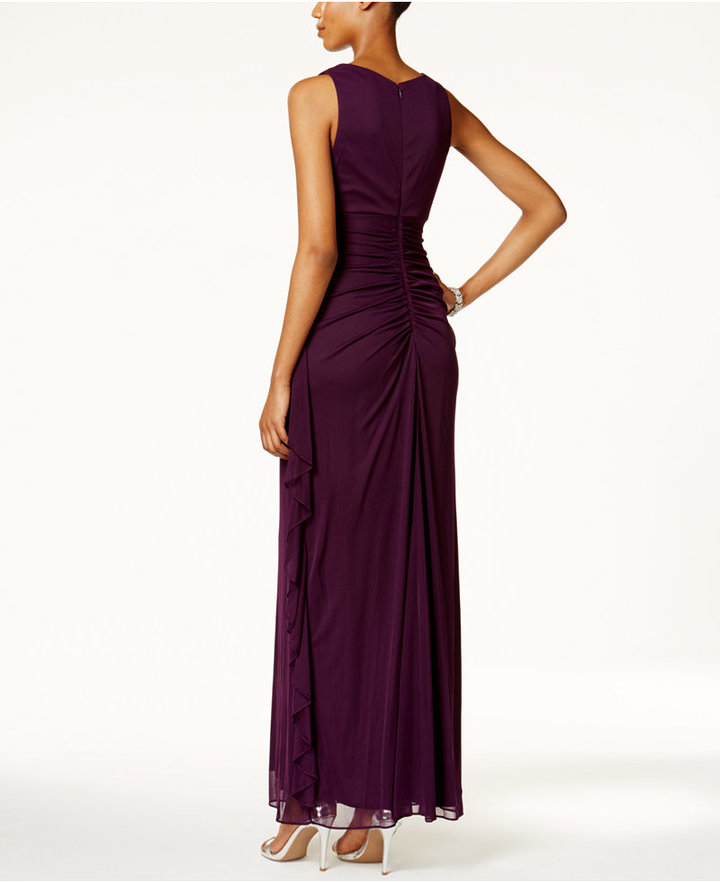 B&A by Betsy and Adam Embellished Keyhole Ruched Gown 4