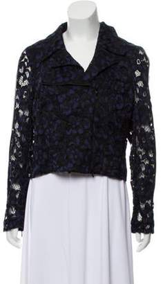 Anne Fontaine Leather-Trimmed Lace Jacket w/ Tags Navy Anne Fontaine Leather-Trimmed Lace Jacket w/ Tags