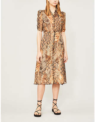 BA&SH Rozy snakeskin-print chiffon midi dress