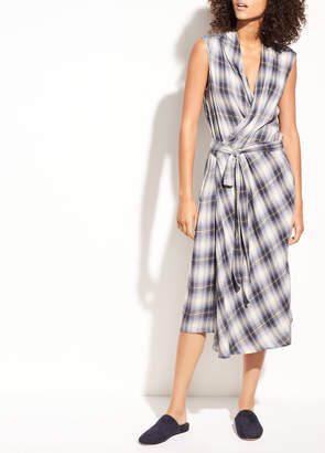 Vince Shadow Plaid Sleeveless Cotton Wrap Dress