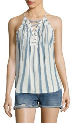 PAIGE Bria Striped Lace-Up Tank Top $148 thestylecure.com