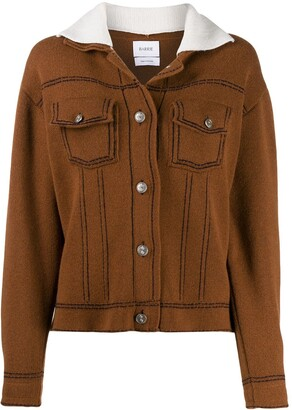 Barrie Sherpa collar knitted jacket