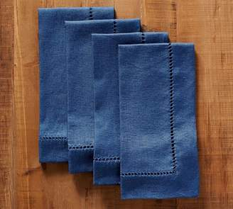 Pottery Barn Linen Hemstitch Napkin, Set of 4 - Sailor Blue