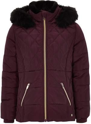River Island Girls berry faux fur trim padded coat