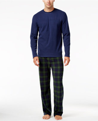 Club Room Men's Blackwatch Fleece Pajama Set, Only at Macy's $65 thestylecure.com