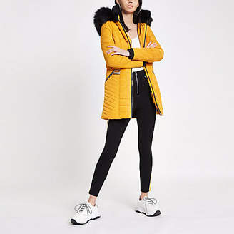 River Island Yellow faux fur trim belted padded jacket