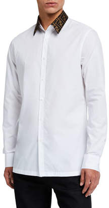 Fendi Men's Solid Sport Shirt w/ FF Collar