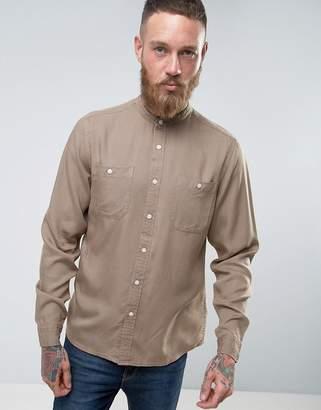 Asos Regular Fit Viscose Shirt With Grandad Collar In Taupe