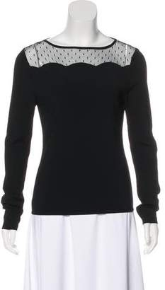 Valentino Lace-Paneled Bateau Neck Top