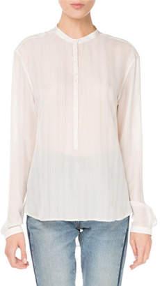 Saint Laurent Button-Down Striped Silk Shirt