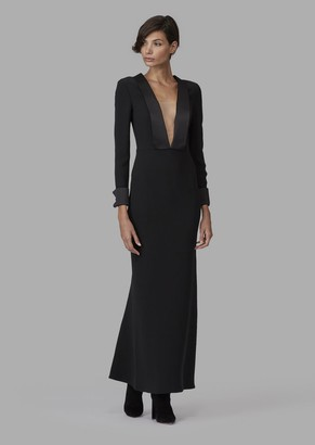 Giorgio Armani Pure Silk Maxi Dress With Satin Lapel Neckline