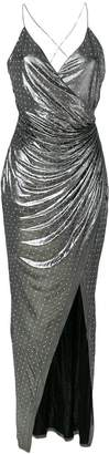 Balmain studded detail ruched faux wrap dress