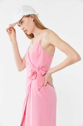 Urban Outfitters Quebec Linen Side-Tie Midi Wrap Dress