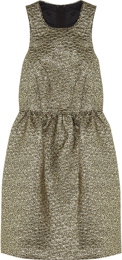 Tibi Metallic jacquard dress