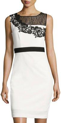JAX Lace-Yoke Sleeveless Sheath Dress, White/Black $119 thestylecure.com