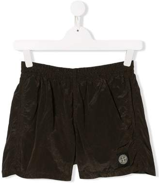 Stone Island Junior logo patch shorts