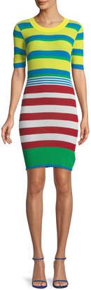 Diane von Furstenberg Striped Elbow-Sleeve Coverup Sweaterdress