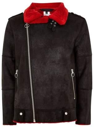 Topman Mens Black Faux Red Shearling Biker Jacket