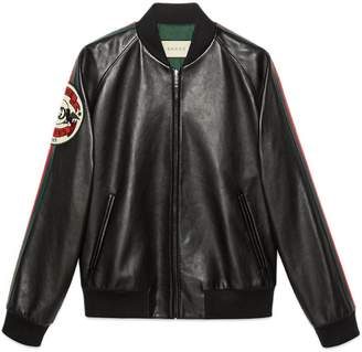 Gucci Leather bomber jacket with patch