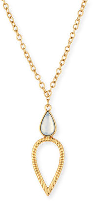 Jules Smith Candis Long Double-Teardrop Pendant Necklace, Gold/Opal $100 thestylecure.com
